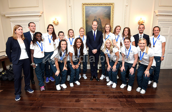 09 July 2015 - London, England - Prince William The Duke of Cambridge meets members of the England Women's Football team during a breakfast reception at Kensington Palace, London. The Lionesses finished the tournament, staged in Canada, as Europe's top side after their 1-0 third-place play-off win over Germany in Edmonton at the weekend. Photo Credit: Alpha Press/AdMedia