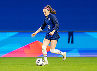 LE HAVRE, FRANCE - APRIL 13: Rose Lavelle #16 of the USWNT warms up before a game between France and USWNT at Stade Oceane on April 13, 2021 in Le Havre, France.