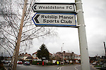 Wealdstone 0 Newport County 0, 17/03/2012. St Georges Stadium, FA Trophy Semi Final. A sign pointing supporters to St Georges Stadium, home ground of Wealdstone FC, before the club played host to Newport County in the semi-final second leg of the F.A. Trophy. The game ended in a goalless draw, watched by a capacity crowd of 2,092 which meant the visitors from Wales progressed by three goals to one to the competition's final at Wembley, where they would meet York City. The F.A. Trophy was the premier cup competition for non-League clubs in England and Wales affiliated to the Football Association. Photo by Colin McPherson.