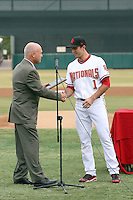 Steve Lombardozzi is presented with the Dernell Stenson sportsmanship award by AFL Director Steve Cobb prior to the league championship game. The Scottsdale Scorpions defeated the Peoria Javelinas, 3-2, to win the Arizona Fall League championship at Scottsdale Stadium, Scottsdale, AZ - 11/20/2010.Photo by:  Bill Mitchell/Four Seam Images..