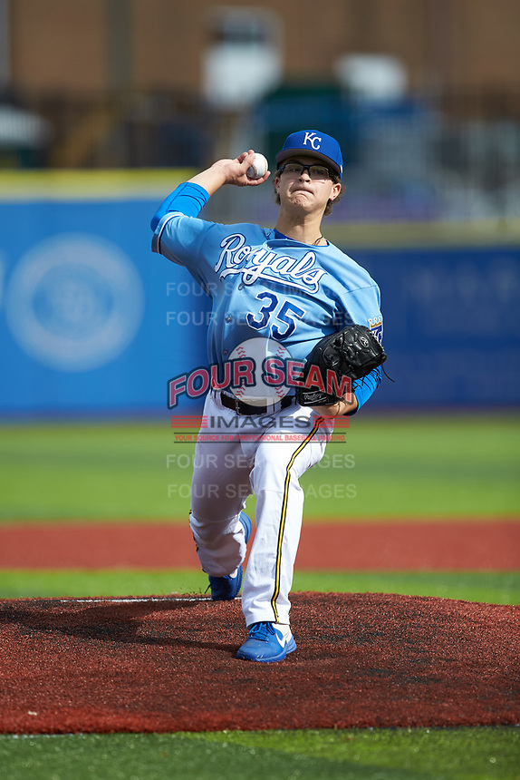 Connor Kane (35) of E.A. Laney High School (NC) playing for the Kansas City Royals scout team during game six of the South Atlantic Border Battle at Truist Point on September 27, 2020 in High Pont, NC. (Brian Westerholt/Four Seam Images)