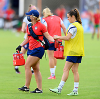 HOUSTON, TX - JUNE 10: Kelley O'Hara #5 of the United States takes a water break before a game between Portugal and USWNT at BBVA Stadium on June 10, 2021 in Houston, Texas.
