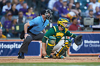 Baylor Bears catcher Andy Thomas (25) sets a target as home plate umpire Jason Milsap looks on during the game against the LSU Tigers in game five of the 2020 Shriners Hospitals for Children College Classic at Minute Maid Park on February 28, 2020 in Houston, Texas. The Bears defeated the Tigers 6-4. (Brian Westerholt/Four Seam Images)