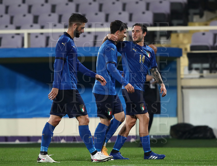 FBL- Friendly  football match Italy vs Estonia at the Artemio Franchi stadium in Florence on November 11, 2020.<br /> Italy's players celebrate after winning 3-0 the friendly football match between Italy snd Estonia at the Artemio Franchi stadium in Florence on November 11, 2020. <br /> UPDATE IMAGES PRESS/Isabella Bonotto