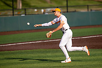 Tennessee Volunteers infielder Logan Steenstra (5) warms up prior to the game against the LSU Tigers on Robert M. Lindsay Field at Lindsey Nelson Stadium on March 26, 2021, in Knoxville, Tennessee. (Danny Parker/Four Seam Images)
