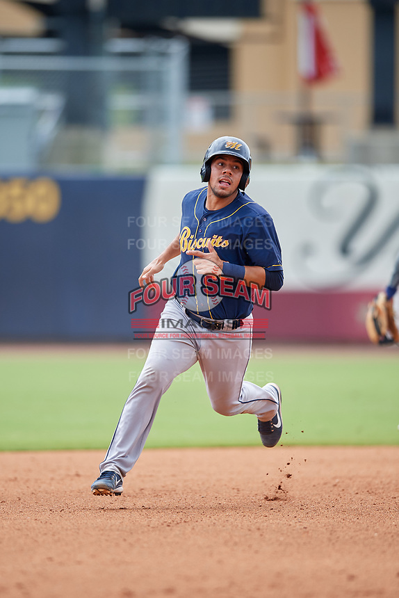 Montgomery Biscuits Rene Pinto (13) running the bases during a Southern League game against the Biloxi Shuckers on May 8, 2019 at MGM Park in Biloxi, Mississippi.  Biloxi defeated Montgomery 4-2.  (Mike Janes/Four Seam Images)