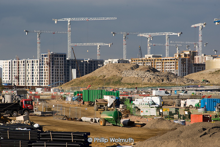Construction work on the London 2012 Athletes Village in Stratford. The publicly owned development is being built by the Olympic Delivery Authority (ODA) and private construction company Bovis Lend Lease. It will house 17,000 athletes and officials and leave a legacy of up to 2818 homes (with 1379 of these 'affordable').