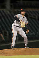 Scottsdale Scorpions starting pitcher Garrett Williams (39), of the San Francisco Giants organization, delivers a pitch during an Arizona Fall League game against the Mesa Solar Sox at Sloan Park on October 10, 2018 in Mesa, Arizona. Scottsdale defeated Mesa 10-3. (Zachary Lucy/Four Seam Images)