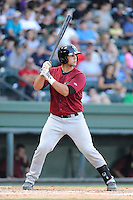 Catcher Colton Plaia (8) of the Savannah Sand Gnats bats in a game against the Greenville Drive on Sunday, August 24, 2014, at Fluor Field at the West End in Greenville, South Carolina. Greenville won, 8-5. (Tom Priddy/Four Seam Images)