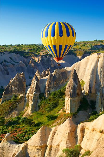 Hot Air Baloons over the Love Valley  at sunrise, Cappadocia Turkey