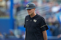Wake Forest Demon Deacons head coach Tom Walter (16) walks to the third base coaches box during the game against the Florida Gators in Game Two of the Gainesville Super Regional of the 2017 College World Series at Alfred McKethan Stadium at Perry Field on June 11, 2017 in Gainesville, Florida.  (Brian Westerholt/Four Seam Images)