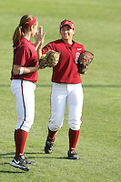 25 October 2007: Stanford Cardinal Autumn Albers (right) and Alissa Haber (left) during Stanford's 5-4 loss in seven innings against the San Jose State Spartans at Boyd & Jill Smith Family Stadium in Stanford, CA.