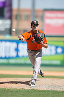 Bowie Baysox relief pitcher Andrew Triggs (31) in action against the Richmond Flying Squirrels at The Diamond on May 24, 2015 in Richmond, Virginia.  The Flying Squirrels defeated the Baysox 5-2.  (Brian Westerholt/Four Seam Images)