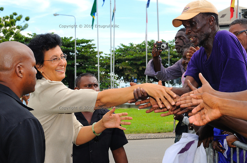 """Jennifer Geerlings-Simons (L) the chairwoman of De Nationale Assemblée (DNA) / The National Assemble of Suriname visits NDP (National Democratic Party of Suriname) and """"De Mega Combinatie"""" - """"The Mega Combination"""" supporters.....Desi Bouterse (Desiré Delano Bouterse) chosen as new president of Suriname by De Nationale Assemblée (DNA) / The National Assemble of Suriname. He took 36 votes of 51 as leader of the Mega Combination. ....Robert_Ameerali the head of KKF (Kamer van Koophandel en Fabrieken) / Chamber of Commerce and Industry also selected as Vice President.....Desi Bouterse (Desiré Delano Bouterse) will sworn at 3 August 2010"""