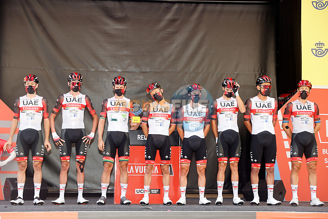 UAE Team Emirates best team after yesterday's stage at sign on before the start of Stage 6 of La Vuelta d'Espana 2021, running 158.3km from Requena to Alto de la Montaña Cullera, Spain. 19th August 2021.    <br /> Picture: Luis Angel Gomez/Photogomezsport | Cyclefile<br /> <br /> All photos usage must carry mandatory copyright credit (© Cyclefile | Luis Angel Gomez/Photogomezsport)