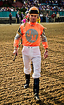 9 APR - Jockey Cliff Berry leads the Oaklawn Jockey Gallery out to the infield before the 65th running of the Oaklawn Handicap.