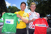 Aaron Gate and Mathew Zenovich, who held all the series jerseys after the first day. Stage One - Lost Lake Loop (Cambridge - Kaipaki - Roto O Rangi - Leamington). 2019 Grassroots Trust NZ Cycle Classic UCI 2.2 Tour from St Peter's School in Cambridge, New Zealand on Wednesday, 23 January 2019. Photo: Dave Lintott / lintottphoto.co.nz