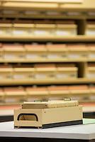 Stasi-Unterlagen-Archiv in Berlin.<br /> In der gezeigten Abteilung werden Karteikarten der Hauptabteilung IX/11 (Aufklaerung von Nazi- und Kriegsverbrechen) aufbewahrt. <br /> 13.10.2016, Berlin<br /> Copyright: Christian-Ditsch.de<br /> [Inhaltsveraendernde Manipulation des Fotos nur nach ausdruecklicher Genehmigung des Fotografen. Vereinbarungen ueber Abtretung von Persoenlichkeitsrechten/Model Release der abgebildeten Person/Personen liegen nicht vor. NO MODEL RELEASE! Nur fuer Redaktionelle Zwecke. Don't publish without copyright Christian-Ditsch.de, Veroeffentlichung nur mit Fotografennennung, sowie gegen Honorar, MwSt. und Beleg. Konto: I N G - D i B a, IBAN DE58500105175400192269, BIC INGDDEFFXXX, Kontakt: post@christian-ditsch.de<br /> Bei der Bearbeitung der Dateiinformationen darf die Urheberkennzeichnung in den EXIF- und  IPTC-Daten nicht entfernt werden, diese sind in digitalen Medien nach §95c UrhG rechtlich geschuetzt. Der Urhebervermerk wird gemaess §13 UrhG verlangt.]