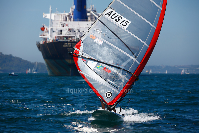 Day 3 of the Sail Sydney 2009 regatta, RS:X Olympic class..Held annually Sail Sydney take place from the 5-8 December 2009 on the magnificent Sydney Harbour as part of the Sail Down Under series, incorporating Sail Brisbane, Sail Sydney and Sail Melbourne..Competitors from around the world bring Sydney Harbour to life as athletes look to establish themselves on the sailing scene in the lead up to the London Olympics in 2012..The four day regatta incorporate Olympic, International and Youth classes on the three Sydney Harbour courses used by the 2000 Sydney Olympics. Spectacular action from the 49er and International Moth classes can be expected along with the Laser, Laser Radial, Finn, RS:X and 470s as they campaign towards 2012..Over 400 participate and sail out of host venue: Woollahra Sailing Club in Rose Bay.