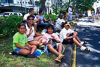 Spectators at the annual aloha week parade