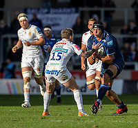 3rd October 2021; AJ Bell stadium, Eccles, Greater Manchester, England: Gallagher Premiership Rugby, Sale v Exeter ; JP du Preez of Sale Sharks powers towards Stuart Hogg of Exeter Chiefs