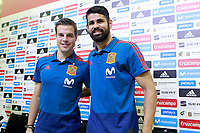 Spain's Cesar Azpilicueta (l) and Diego Costa in press conference after training session. May 31,2018.(ALTERPHOTOS/Acero) /NortePhoto.com