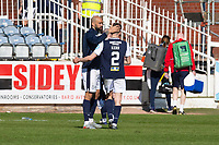 24th April 2021; Dens Park, Dundee, Scotland; Scottish Championship Football, Dundee FC versus Raith Rovers; Liam Fontaine and Cammy Kerr of Dundee embrace at the end of the match