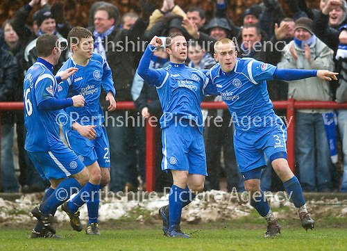 Brechin v St Johnstone....12.03.11  Scottish Cup Quarter Final.Chris Millar celebrates his goal with Danny Grainger.Picture by Graeme Hart..Copyright Perthshire Picture Agency.Tel: 01738 623350  Mobile: 07990 594431