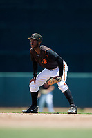 GCL Orioles second baseman Carlos Baez (13) during a Gulf Coast League game against the GCL Red Sox on July 29, 2019 at Ed Smith Stadium in Sarasota, Florida.  GCL Red Sox defeated the GCL Pirates 9-1.  (Mike Janes/Four Seam Images)
