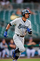 Biloxi Shuckers designated hitter Jake Gatewood (3) runs to first base during a game against the Montgomery Biscuits on May 8, 2018 at Montgomery Riverwalk Stadium in Montgomery, Alabama.  Montgomery defeated Biloxi 10-5.  (Mike Janes/Four Seam Images)