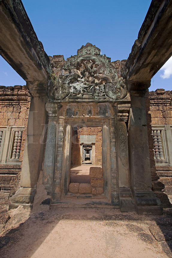 The Khmer ruins of East Mebon, built of laterite and sandstone by Rajendravarman in the10th century - Angkor Wat, Siem Reap, Cambodia...