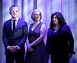 Thomas Schumacher, Heather Hitchens, and Charlotte St. Martin attend the 2018 Tony Awards Nominations Announcement at The New York Public Library for the Performing Arts on May 1, 2018 in New York City.