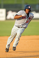 Destin Hood #22 of the Hagerstown Suns hustles towards third base against the Kannapolis Intimidators at Fieldcrest Cannon Stadium August 8, 2010, in Kannapolis, North Carolina.  Photo by Brian Westerholt / Four Seam Images