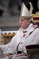 Pope Francis leads the Chrism mass on holy thursday at the St Peter basilica at the Vatican.March 28, 2013