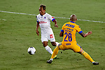 Luis Rodriguez of Tigres UANL (MEX) fights for the ball against Javier Portillo of CD Olimpia (HON) during their CONCACAF Champions League Semi Finals match at the Orlando's Exploria Stadium on 19 December 2020, in Florida, USA. Photo by Victor Fraile / Power Sport Images