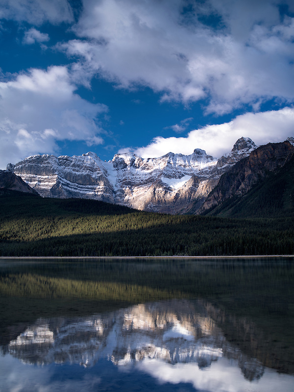 Waterfowl Lakes and mountains with reflections. Banff National Park, Alberta Canada.