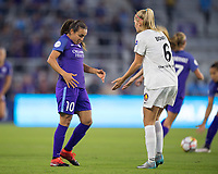 Orlando, FL - Saturday March 24, 2018: Orlando Pride forward Marta Vieira da Silva (10) and Utah Royals defender Katie Bowen (6) have a discussion on the field during a regular season National Women's Soccer League (NWSL) match between the Orlando Pride and the Utah Royals FC at Orlando City Stadium. The game ended in a 1-1 draw.
