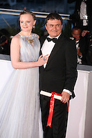 MARIA DRAGUS WITH DIRECTOR CRISTIAN MUNGIU, WINNER OF THE BEST DIRECTOR AWARD FOR THE FILM 'BACALAUREAT' - PHOTOCALL OF THE WINNERS AT THE 69TH FESTIVAL OF CANNES 2016