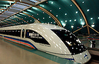 Magnetic levitation train in Shanghai, China. With an investment of nine billion yuan (RMB), the Magnetic Levitated Train Project was launched in March this year, and the train line connects Pudong International Airport to the Longyang Road subway station. The 30-kilometer-long train line is the first of its kind built for passenger service in the world..12-NOV-03