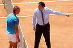 Rafael Nadal, Spain, have words with the referee during Madrid Open Tennis 2015 match.May, 9, 2015.(ALTERPHOTOS/Acero)