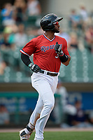 Rochester Red Wings third baseman Niko Goodrum (38) runs to first base during a game against the Columbus Clippers on August 9, 2017 at Frontier Field in Rochester, New York.  Rochester defeated Columbus 12-3.  (Mike Janes/Four Seam Images)