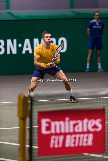 Rotterdam, The Netherlands, 4 march  2021, ABNAMRO World Tennis Tournament, Ahoy, Second round singles: Second round singles: Borna Coric (CRO).<br /> Photo: www.tennisimages.com/