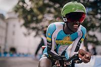 Samuel Mugisha (RWA)<br /> <br /> MEN UNDER 23 INDIVIDUAL TIME TRIAL<br /> Hall-Wattens to Innsbruck: 27.8 km<br /> <br /> UCI 2018 Road World Championships<br /> Innsbruck - Tirol / Austria