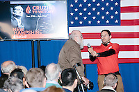 Thomas C. Wood of the Massachusetts-based Asperger Works organization asks what the candidate would do to ensure that disabled people can work as Texas senator and Republican presidential candidate Ted Cruz speaks at a town hall at The Alpine Grove banquet center in Hollis, New Hampshire.