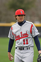 Stony Brook Seawolves infielder Luke Alba #11 throwing in the outfield before a game against the  East Carolina University Pirates at Clark-LeClair Stadium  on March 4, 2012 in Greenville, NC.  East Carolina defeated Stony Brook 4-3. (Robert Gurganus/Four Seam Images)