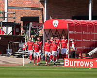 24th April 2021, Oakwell Stadium, Barnsley, Yorkshire, England; English Football League Championship Football, Barnsley FC versus Rotherham United; Barnsley team out and ready for the South Yorkshire derby