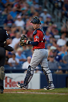 New Hampshire Fisher Cats catcher Riley Adams (22) during an Eastern League game against the Trenton Thunder on August 20, 2019 at Arm & Hammer Park in Trenton, New Jersey.  New Hampshire defeated Trenton 7-2.  (Mike Janes/Four Seam Images)