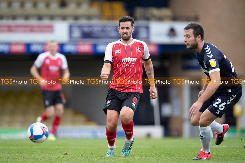 Chris Clements, Cheltenham Town lays the ball into space during Southend United vs Cheltenham Town, Sky Bet EFL League 2 Football at Roots Hall on 17th October 2020