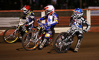 Heat 14: Edward Kennett (blue), Rory Schlein (white) and Mikkel Bech (red) - Lakeside Hammers v Rico's All Stars, The Rico Spring Classic at the Arena Essex Raceway, Pufleet - 20/03/15 - MANDATORY CREDIT: Rob Newell/TGSPHOTO - Self billing applies where appropriate - 0845 094 6026 - contact@tgsphoto.co.uk - NO UNPAID USE
