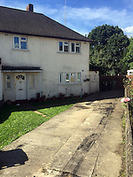 Pictured: Scorch marks still visible on the drive of the house where John and Eva McMurray, the grandparents of footballer Gareth Bale, live in Cardiff, Wales, UK<br />